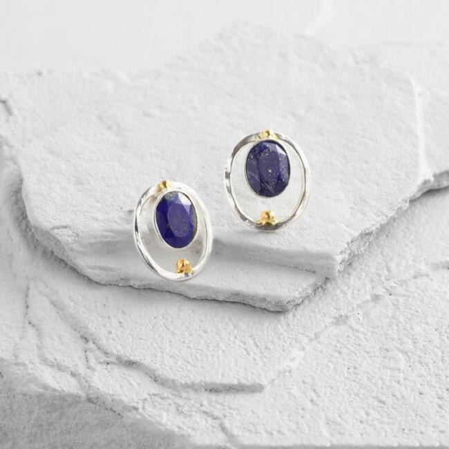 Silver and Lapis Lazuli Stud Earrings