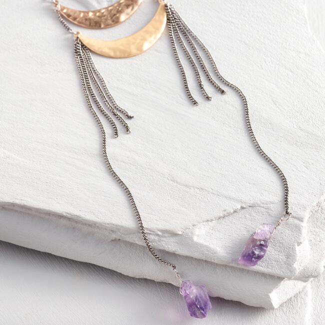 Double Crescent Amethyst Drop Necklace