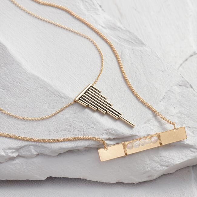 Gold Bar Quartz Necklaces Set of 2