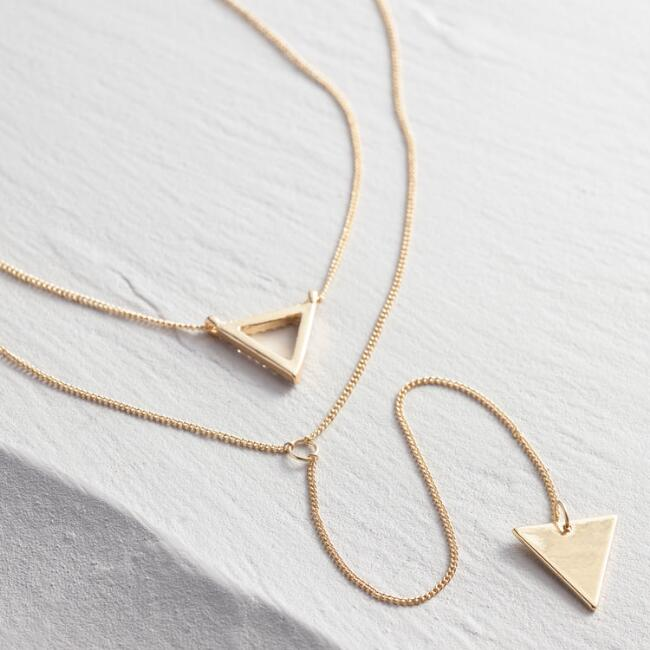 Gold Triangle Pendant Necklaces Set of 2