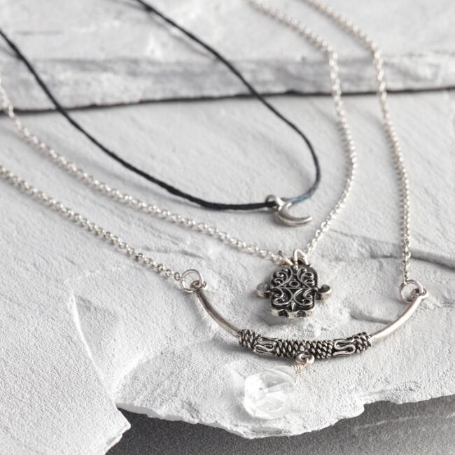 Silver Hamsa Necklaces Set of 3
