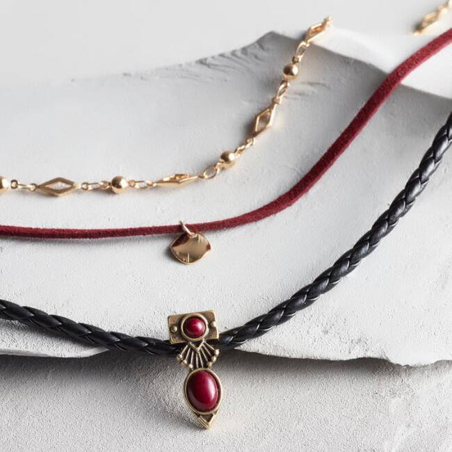 Wine and Black Choker Necklaces Set of 3