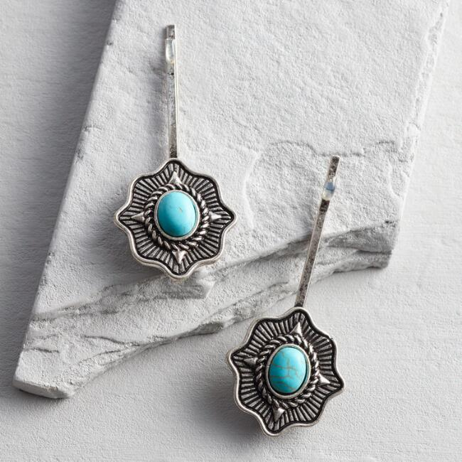 Silver and Turquoise Hair Pins Set of 2