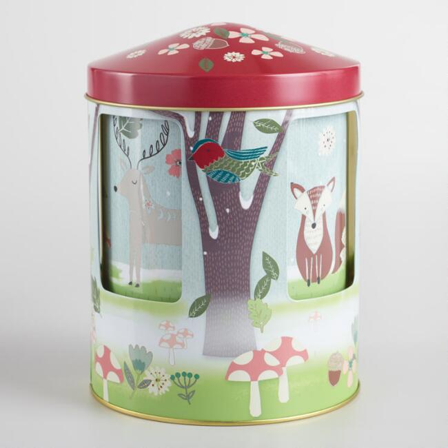 World Market Carousel Woodland Shortbread Cookie Tin