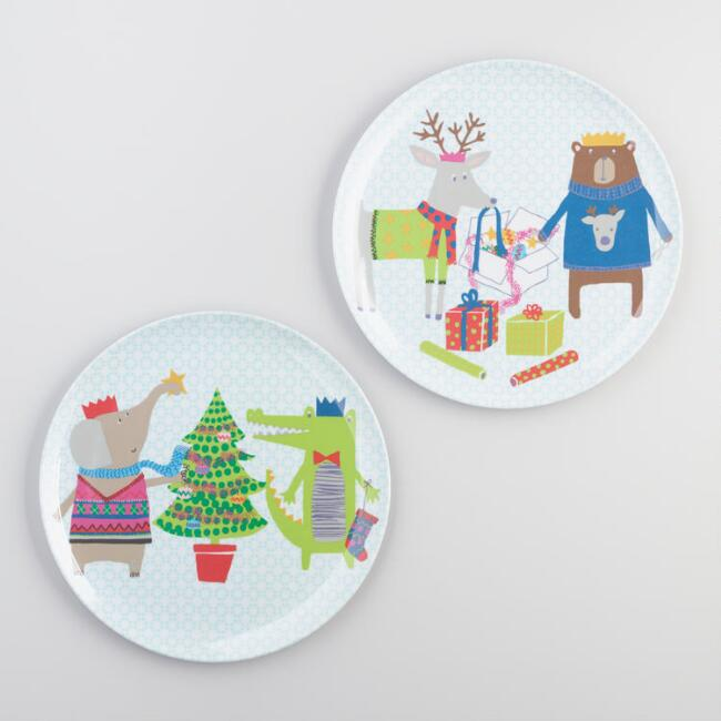 Kid's Christmas Melamine Plates Set of 6