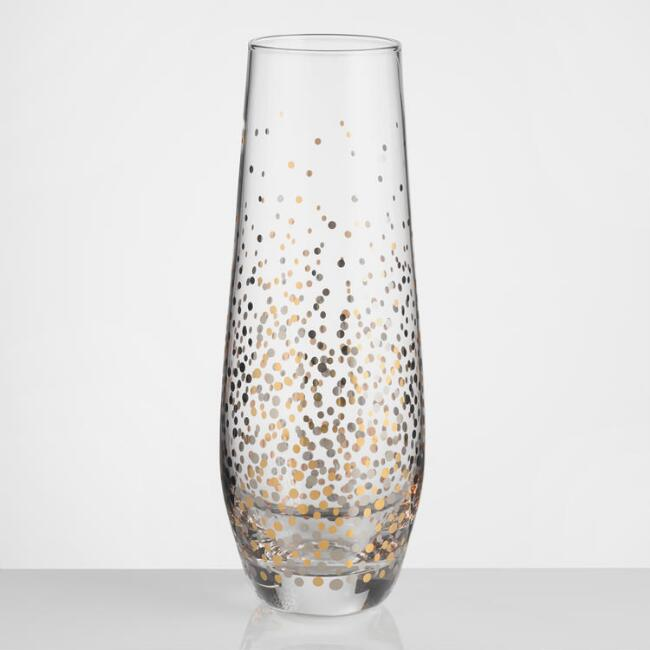 Metallic Confetti Stemless Champagne Flutes Set of 4
