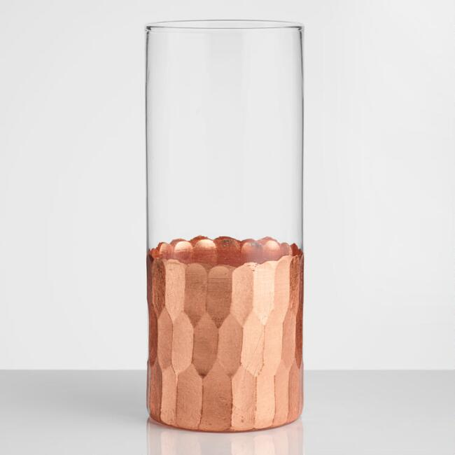 Copper Faceted Highball Glasses Set of 4
