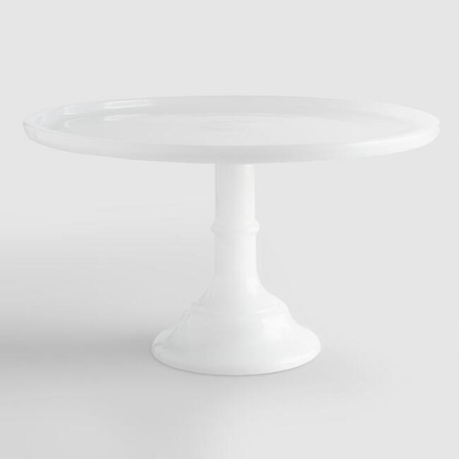 White Frosted Glass Pedestal Stand