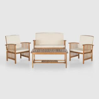 Brock 4 Piece Outdoor Occasional Set with Ivory Cushions. Affordable Outdoor   Patio Furniture   World Market