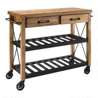 Wood and Metal Industrial Kitchen Cart. Metal Frame Wood Furniture   World Market
