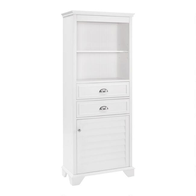 White Wood Maryella Tall Bathroom Cabinet