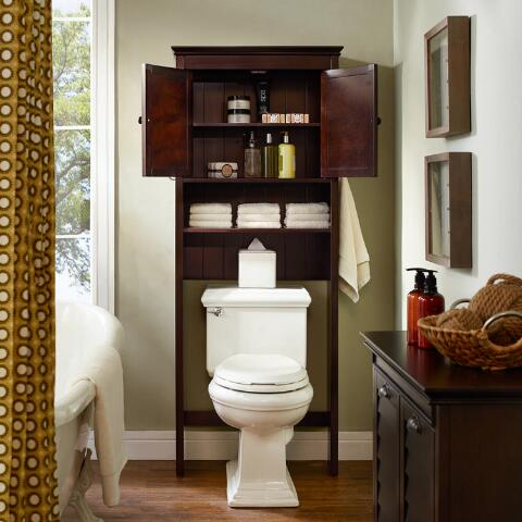 Espresso wood maryella bathroom space saver cabinet for Wood bathroom cabinets over toilet