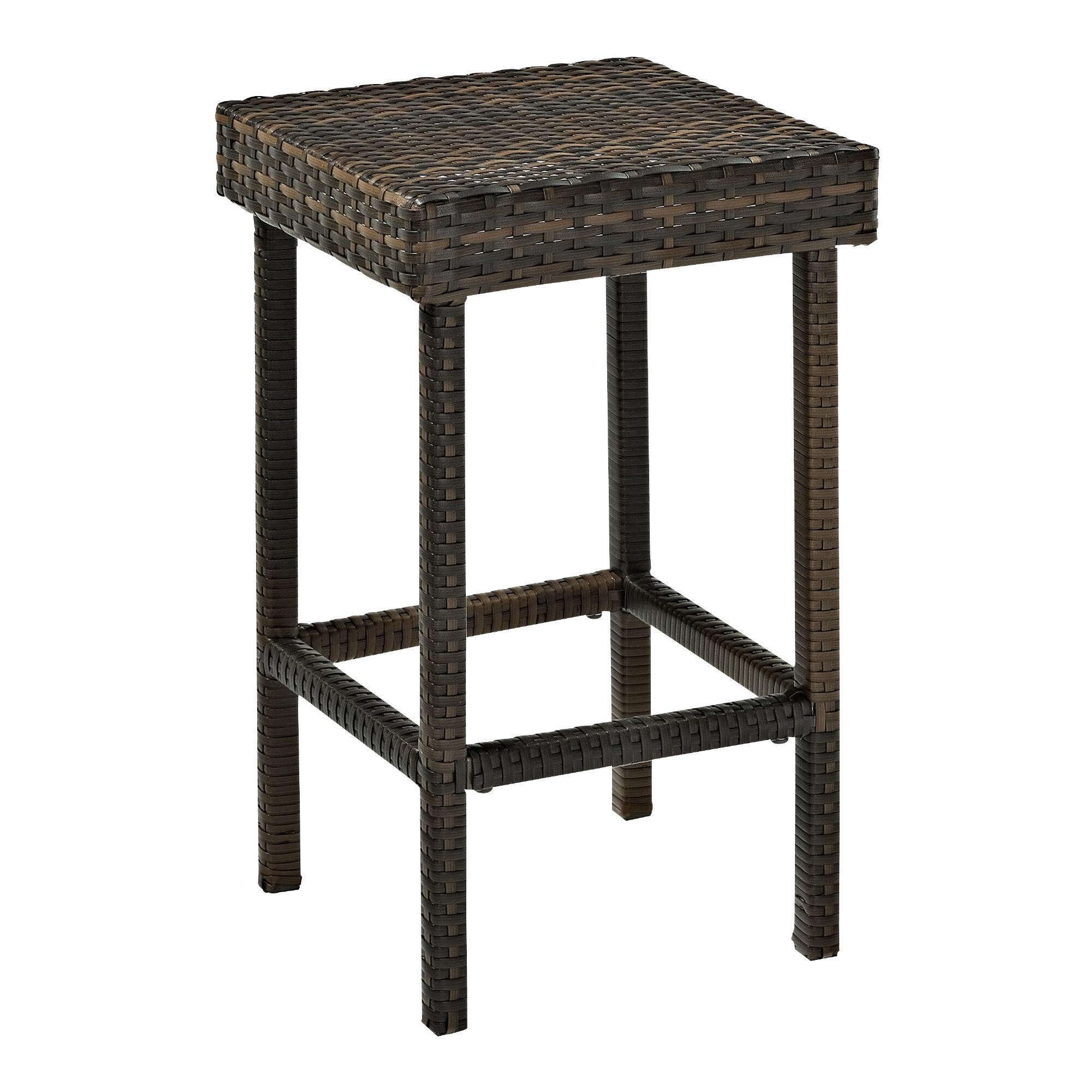 All Weather Wicker Pinamar Outdoor Patio Counter Stools Set of 2: Brown - Resin by World Market