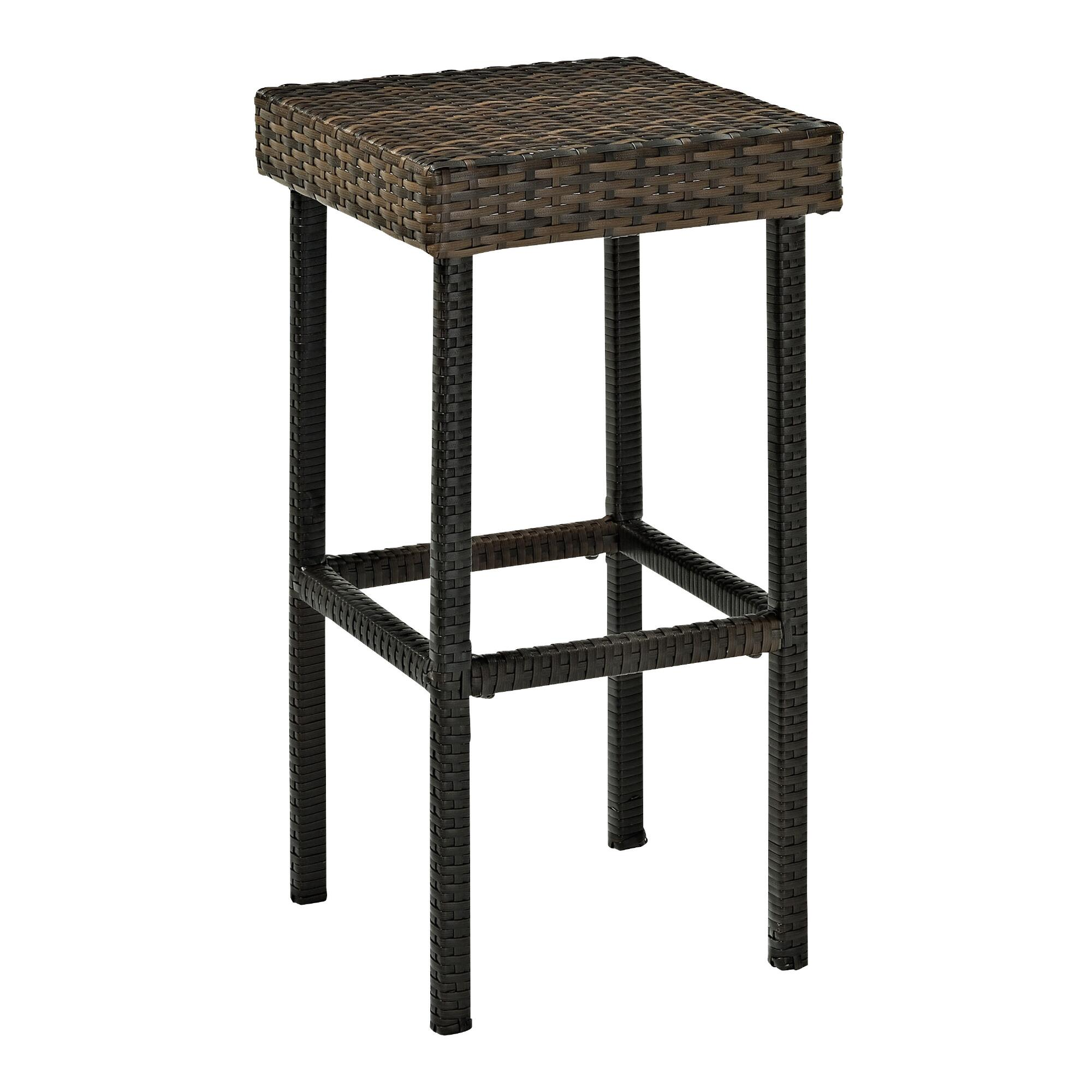 All Weather Wicker Pinamar Outdoor Patio Barstools Set of 2: Brown - Resin by World Market