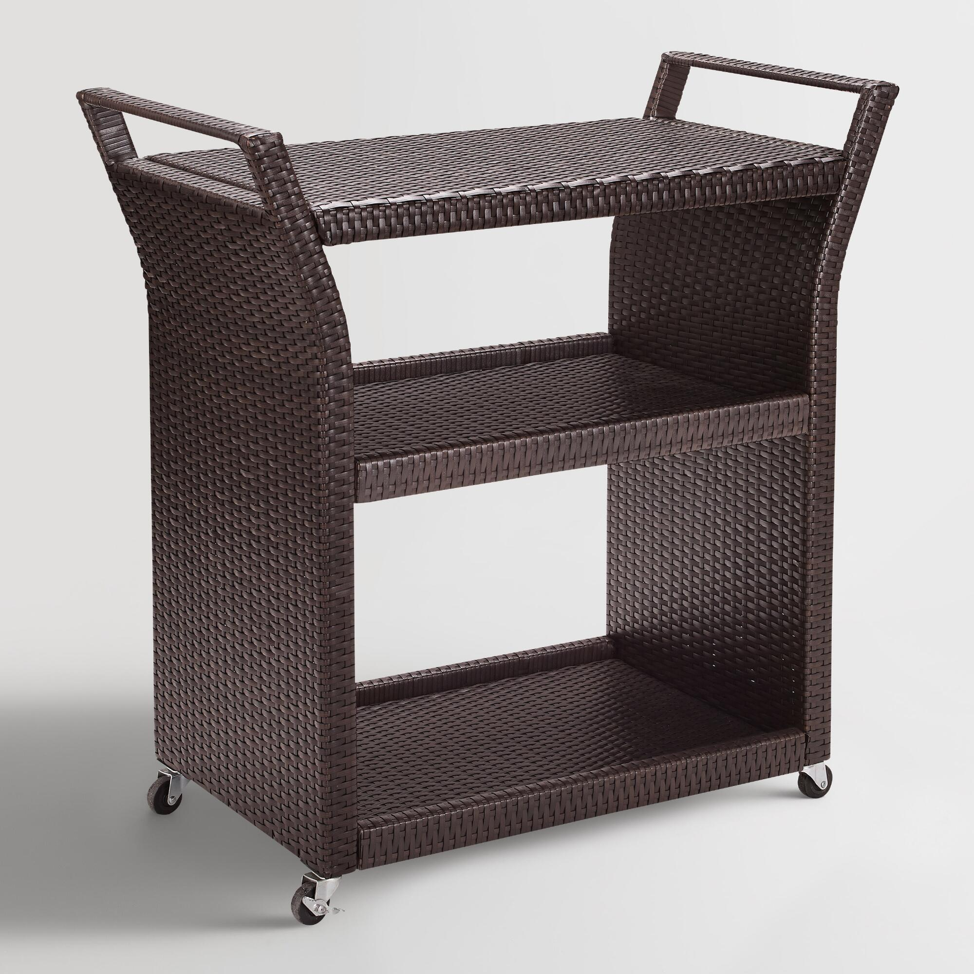 Espresso All Weather Wicker Pinamar Outdoor Patio Rolling Bar Cart: Brown - Resin by World Market