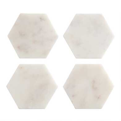 White Marble Hexagon Coasters Set of 4