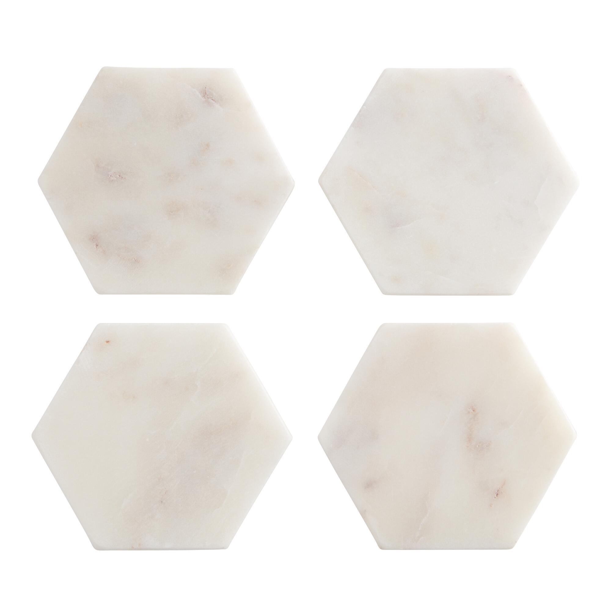 White Marble Hexagon Coasters Set of 4 by World Market