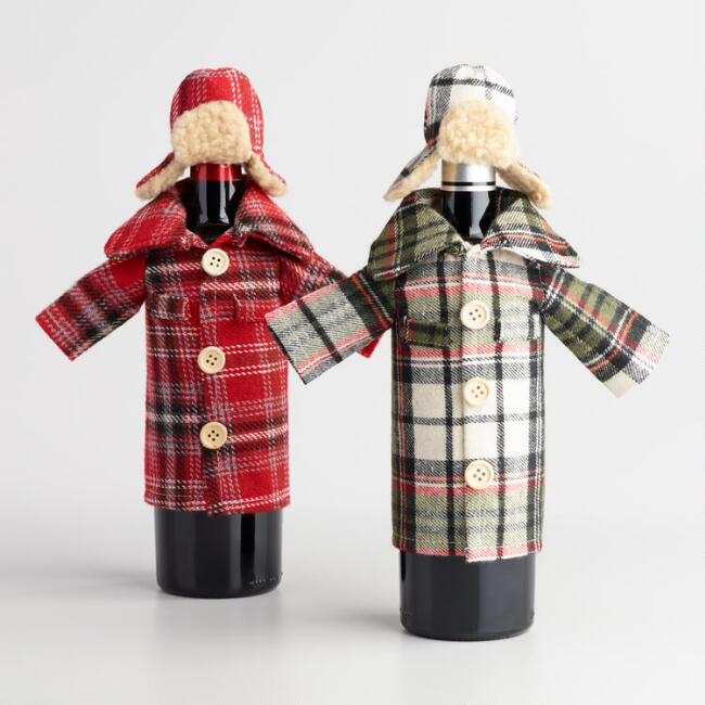 Plaid Shirt and Hat Wine Outfit Set of 2