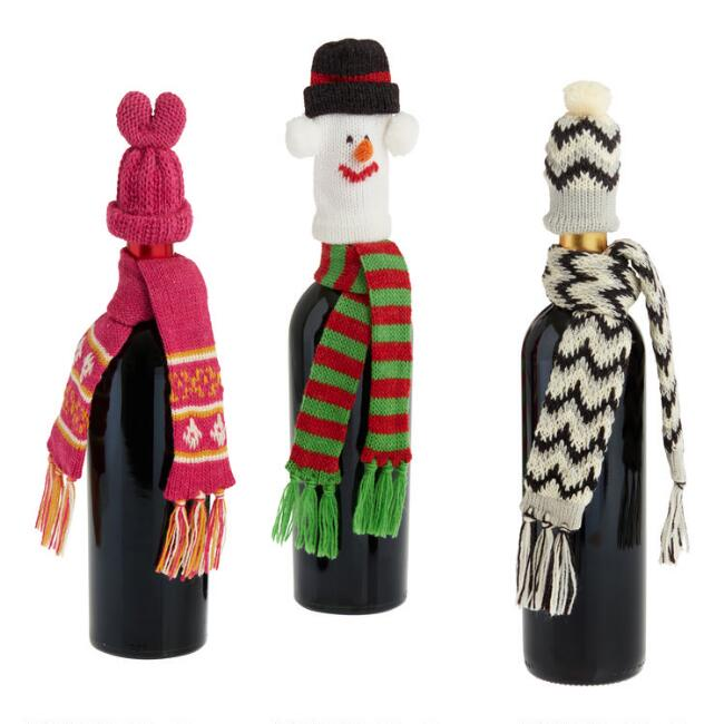 Hat and Scarf Wine Bottle Accessories Set of 3
