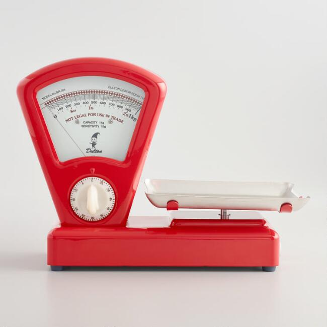 Large Red Retro Kitchen Scale