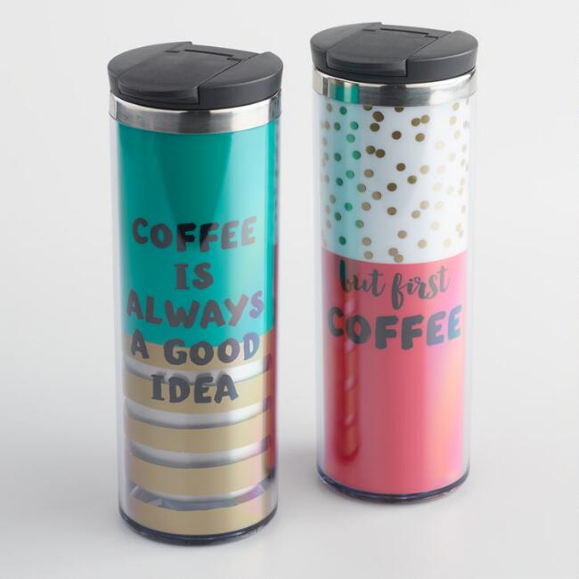 Sentiment Insulated Travel Mugs Set of 2