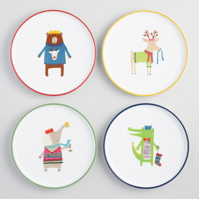 Kids' Christmas Animal Salad Plates Set of 4