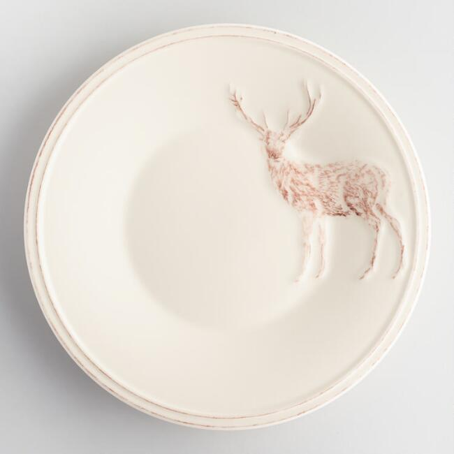 Hand Painted Stag Plates Set of 4