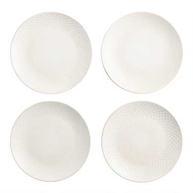White Textured Ceramic Dinner Plates Set Of 4