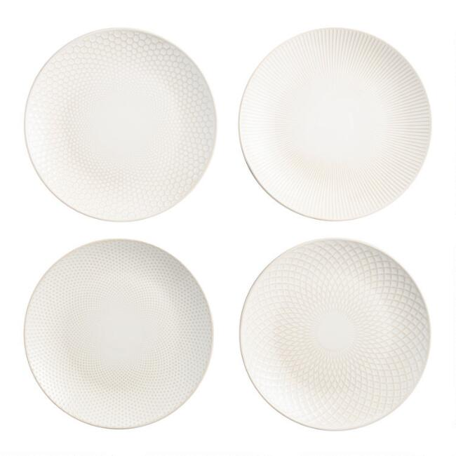 White Textured  Stoneware Dinner Plates Set of 4