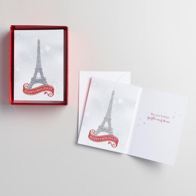 Petite Eiffel Tower Holiday Cards Set of 15