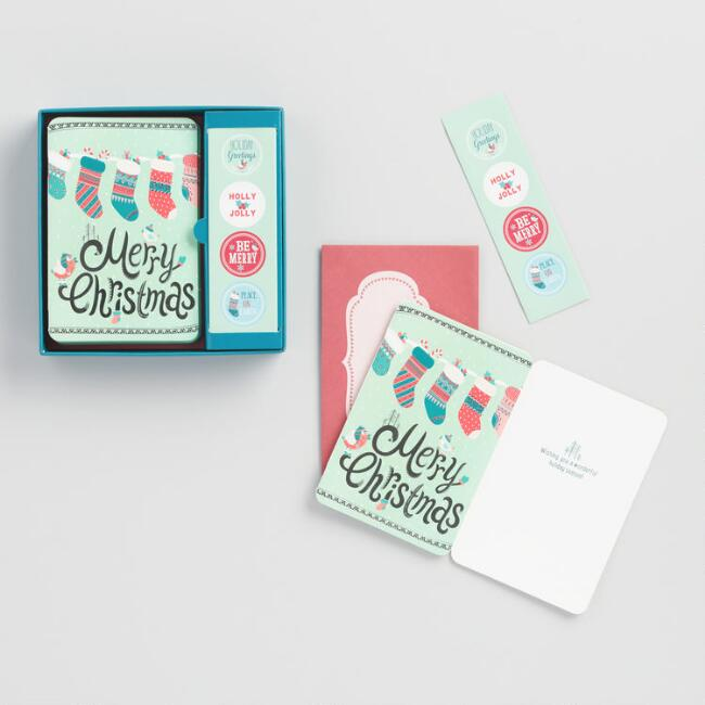 Stockings with Stickers Holiday Cards Set of 12