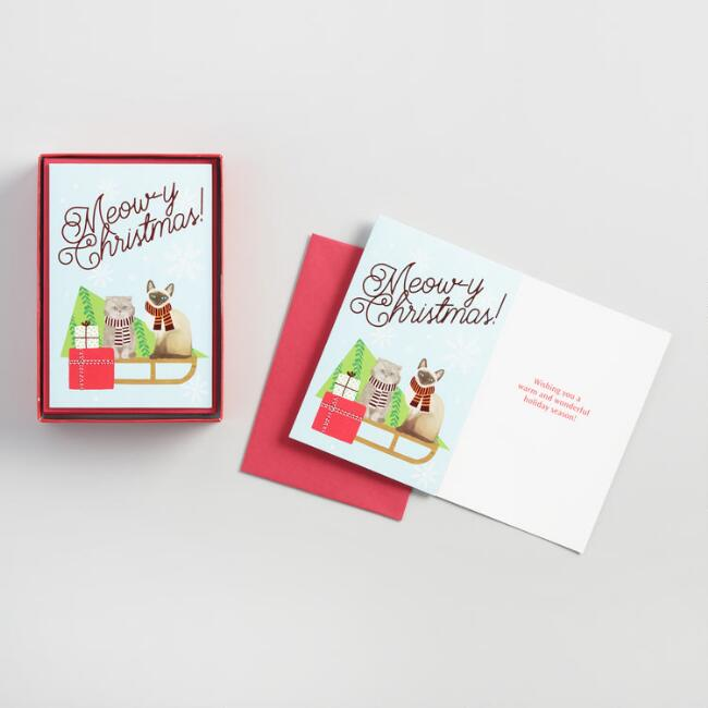 Meowy Christmas Holiday Cards Set of 15