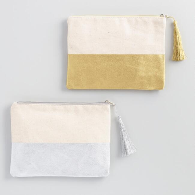 Gold and Silver Pencil Pouches Set of 2