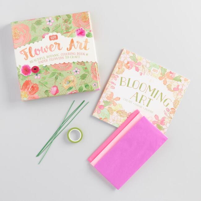 Flower Art Keepsakes and Coloring Book Kit