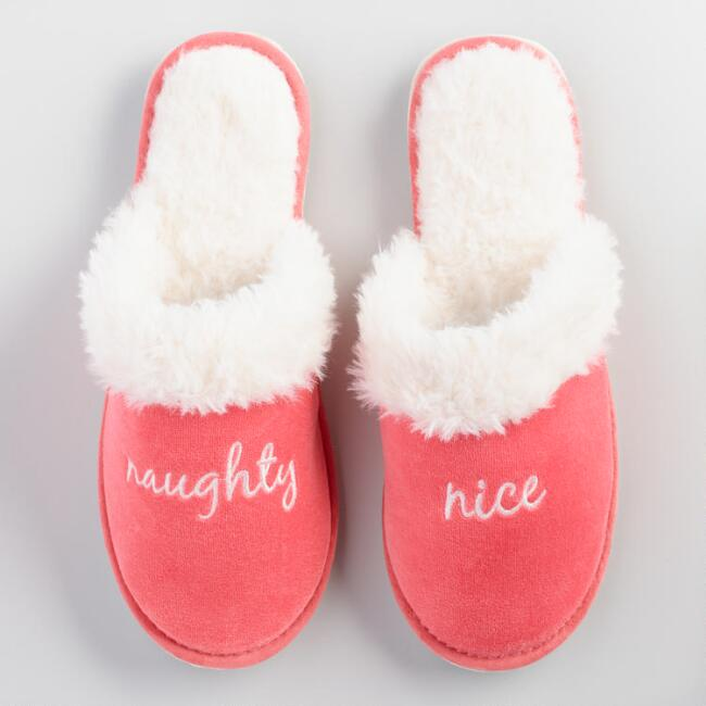 Naughty and Nice Velvet Slippers