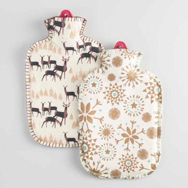 Snowflakes and Reindeer Felt Hot Water Bottles Set of 2