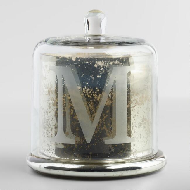 Etched M Mercury Glass Filled Candle with Cloche