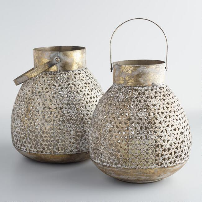 Gold and White Pierced Metal Lantern