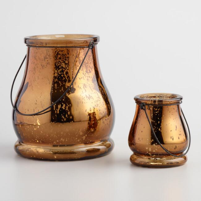 Copper Mercury Glass Teardrop Lantern