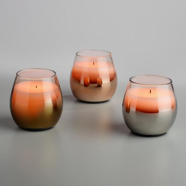 Metallic Flameless LED Filled Goblet Candle