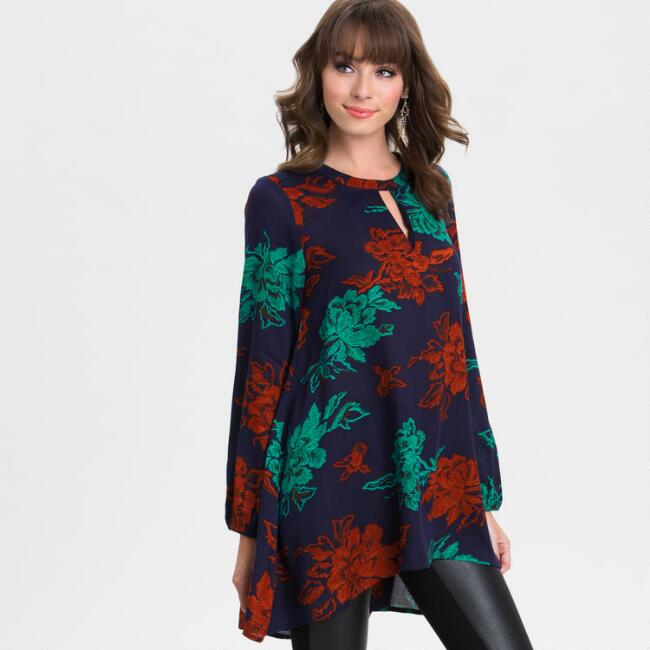 Navy, Teal and Rust Floral Tunic