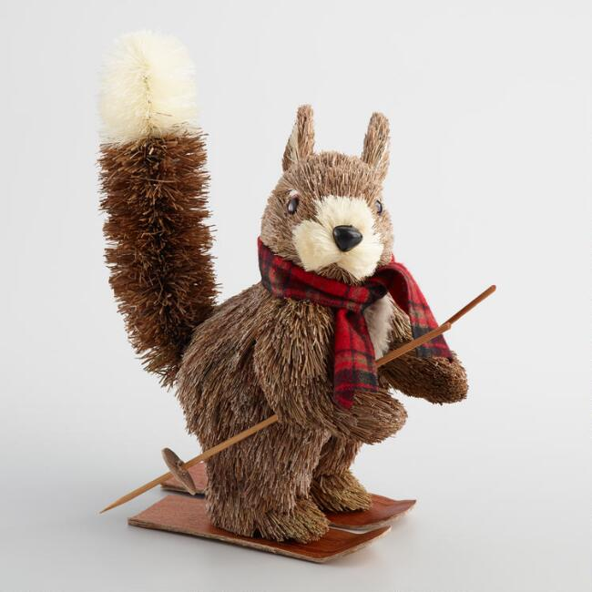 Natural Fiber Squirrel on Skis