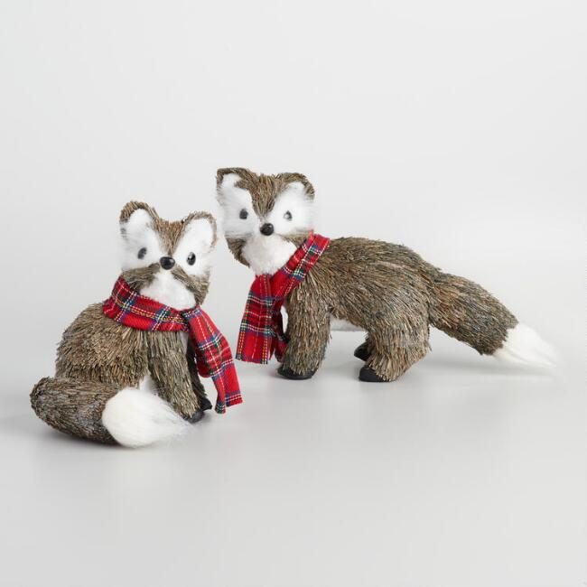 Natural Fiber Foxes with Scarves Set of 2