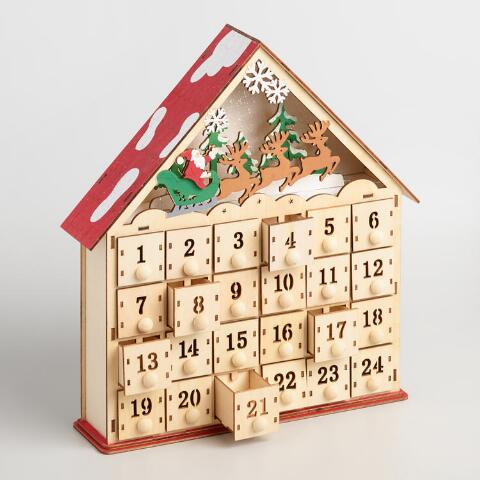 Wood Advent Calendar House With Led Lights Previous V3 V1 V2