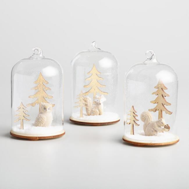 Glass Cloches with Winter Scenes Set of 3