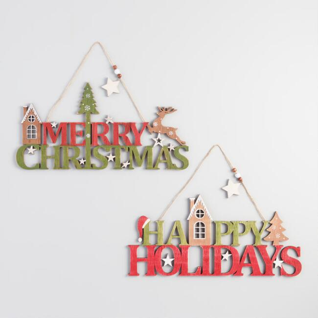 Red and Green Wood Holiday Greetings Hanging Decor Set of 2