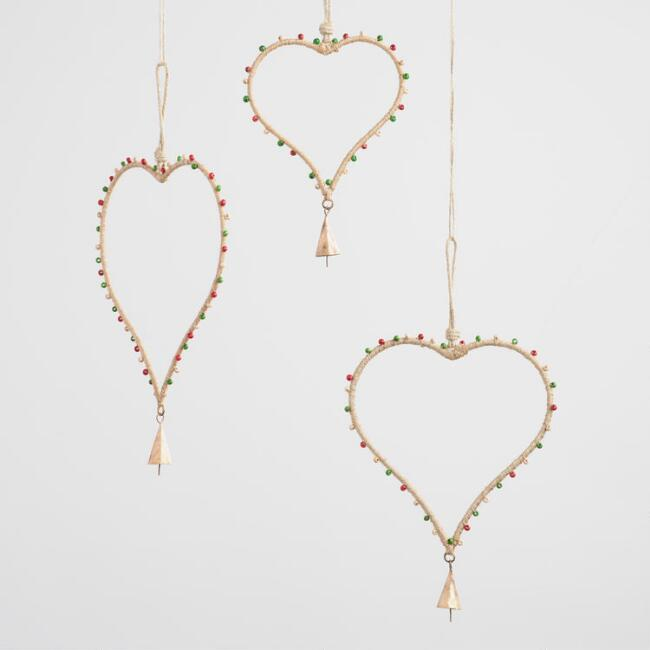 Beaded Jute Heart Hanging Decor Set of 3
