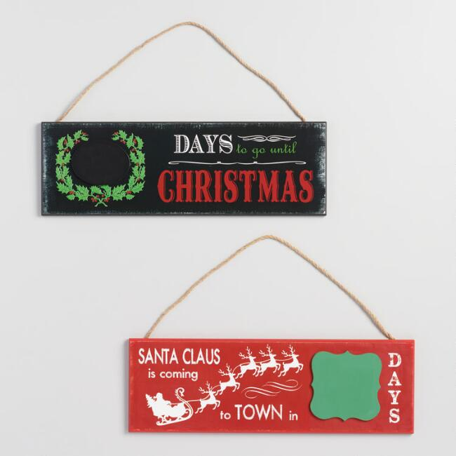 Christmas Countdown Chalkboard Signs Set of 2