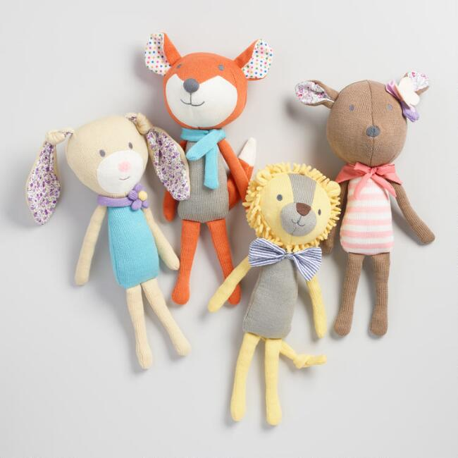 Floral Knit Plush Stuffed Animal Collection