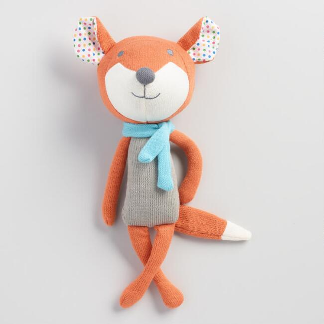 Floral Knit Plush Fox